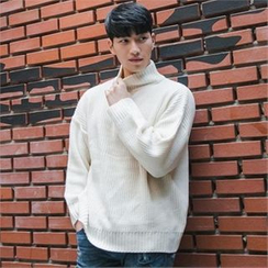 STYLEMAN - Half Zip-Up Turtle-Neck Knit Top