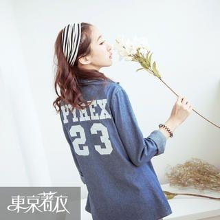 Tokyo Fashion - Long-Sleeved Number Print Denim Shirt