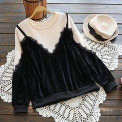 YOYO - Mock Two-Piece Velvet Pullover