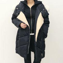 DANI LOVE - Faux-Fur Trim Diagonal-Zip Thick Padded Coat