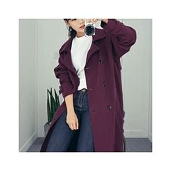HOTPING - Double-Breasted Trench Coat With Belt