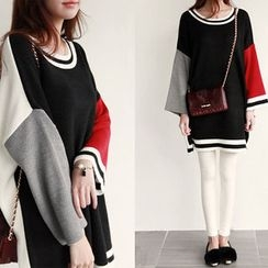 NIPONJJUYA - Color-Block Loose-Fit Sweater