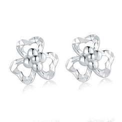 MaBelle - 14K White Gold Three-Petal Flower with Cutting Stud Earrings