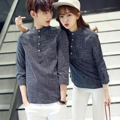 Sienne - Check 3/4-Sleeve Couple Matching Shirt