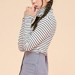 chuu - Turtle-Neck Slim-Fit Stripe Top