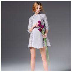 Elabo - 3/4-Sleeve A-Line Dress