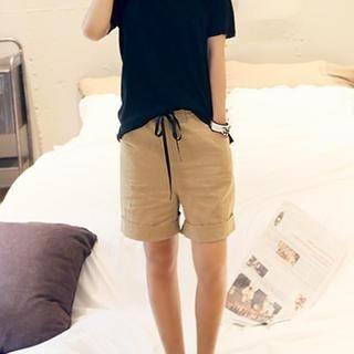 NANING9 - Band-Waist Linen Shorts
