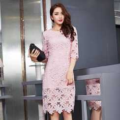 chic n' fab - Elbow-Sleeve Lace Dress