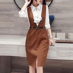 SEYLOS - 套装: 荷叶衬衫 + V领背带裙
