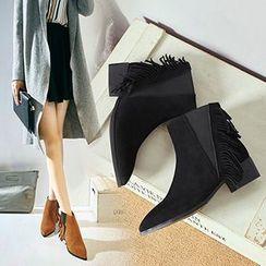 Gizmal Boots - 粗跟流苏及踝靴