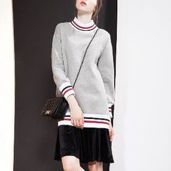 Halona - Long-Sleeve Contrast-Trim Dress