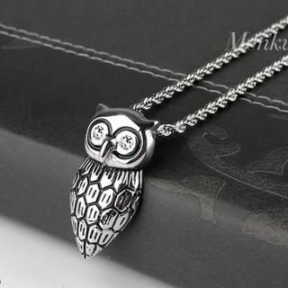 Menku - Rhinestone Owl Pendant Chain Necklace