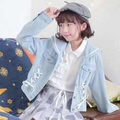 Moriville - Sailor Collar Denim Jacket