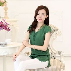 Fancy Show - Cap-Sleeve Chiffon Blouse
