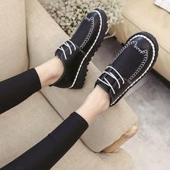 Charming Kicks - 配色边粗跟船鞋