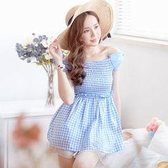 Tokyo Fashion - Bow-Sleeve Smocked Gingham Mini Dress
