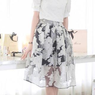 Tokyo Fashion - Floral Sheer A-Line Midi Skirt