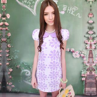 Dabuwawa - Peter-Pan Collar Floral Dress