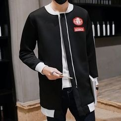 Bay Go Mall - Color Panel Patch Embroidered Long Jacket
