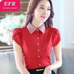 Eferu - Short-Sleeve Plaid Collar Shirt