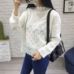 QZ Lady - Stand Collar Pointelle Knit Sweater