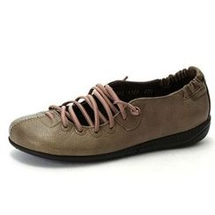 MODELSIS - Genuine-Leather Lace-Up Sneakers