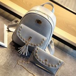 Little Days - Set: Tasseled Studded Faux Leather Backpack + Shoulder Bag