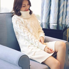 Hibisco - Long-Sleeve High Neck Knit Dress