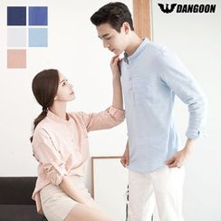 DANGOON - Couple Half-Placket Linen Blend Shirt