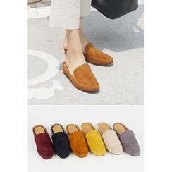 OZNARA - Cutout-Back Faux-Suede Loafers