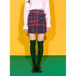 icecream12 - Ribbon-Pocket Check Mini Skirt