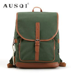 Ausqi - Faux Leather-Trim Canvas Backpack