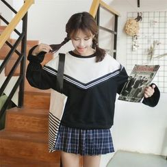Anlay - Loose-Fit Round-Neck Color-Block Pullover