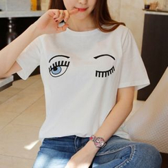 MayFair - Embroidered Short-Sleeve Crewneck T-Shirt
