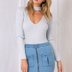 Richcoco - Cut Out Front Long Sleeve Knit Bodysuit Top