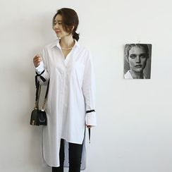 NANING9 - Asymmetric-Hem Tie-Cuff Shirtdress