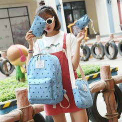 Bagolo - Set of 4: Printed Canvas Backpack + Cross Bag + Pouch + Drawstring Pouch