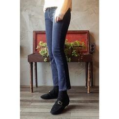 CHERRYKOKO - Brushed-Fleece Lined Straight-Cut Jeans