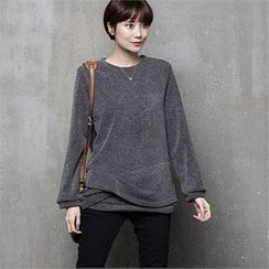 HALUMAYBE - Round-Neck Plain Top