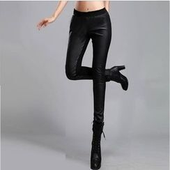 Tabla - Fleece Lined Faux Leather Panel Leggings