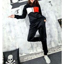 Tabla - 套裝: 插色植毛絨連帽衫 + 運動褲