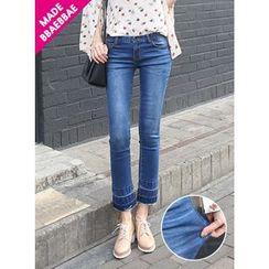 BBAEBBAE - Washed Frayed-Hem Jeans