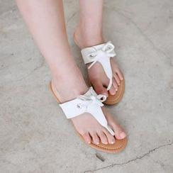 JUSTONE - Beribboned Thong Flip-Flops