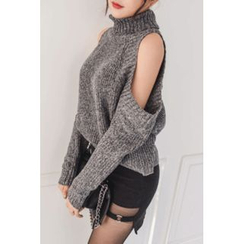 migunstyle - Turtle-Neck Cutout-Shoulder Knit Top