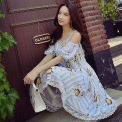 粉红大布娃娃 - 镂空蕾丝边A字连衣裙