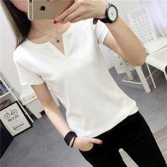Ukiyo - Plain V-Neck Short-Sleeve T-Shirt