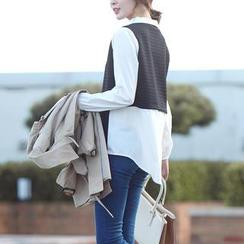 Stylementor - Long-Sleeve Contrast-Trim Top