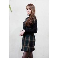 Dalkong - Sleeveless Check A-Line Mini Dress
