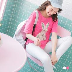 OrangeBear - Sequined Rabbit Cotton Tee