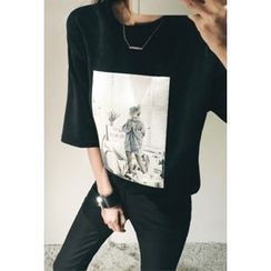 ATTYSTORY - Elbow-Sleeve Printed Velvet T-Shirt